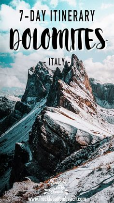 This 7-Day Dolomites Italy Itinerary is a Italy Hiking Travel Guide for Summer/Winter trips. These Travel Tips show the best destinations and places to visit in the dolomites, the mountains in Northern Italy. Visit places like Seceda, Lago Di Braies, Alpe Di Siusu, Lake of Carezza, Villnob and Lake Sorapis. | dolomites italy, italy travel photography, what to do in italy, what to see in italy, italy travel destinations, where to go in italy, travel italy tips, places to go in italy itenerary