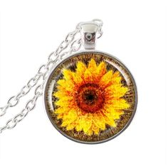 Van Gogh sunflower jewelry yellow flower necklace glass dome pendant silver long sweater chain neckless women summer accessories