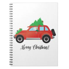 Saluki Driving Christmas Car with Tree on Top Spiral Note Book