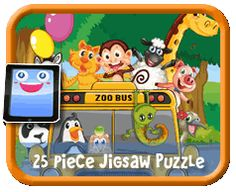 Zoo Bus 25 Piece Online jigsaw puzzle for kids