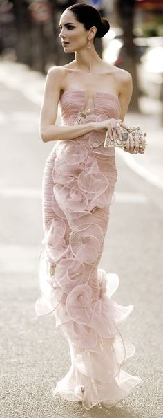 Armani Prive ~ Gorgeous...strapless pale pink blush gown dress with sculpted ruffles