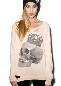 Chaser Crowned Skull Sweater | Dolls Kill