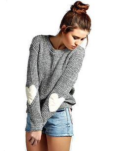 ef3ee681e3a7 Women s Pullover Sweaters - Futurino Women s Heart Patchwork Elbow Crewneck  Marled Knitted Pullover Sweater at Women s Clothing store