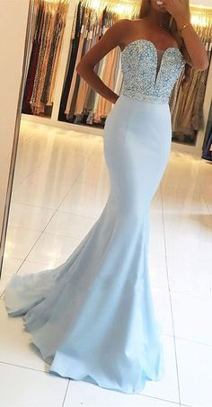 Light Sky Blue Prom Dresses Long Mermaid Formal Evening Dresses 2019 Sexy Military Ball Dresses V-neck Modest Pageant Graduation Party Dresses Silk-like Satin dresses by occasions Sexy Formal Dresses, Blue Evening Dresses, Cute Prom Dresses, Mermaid Evening Dresses, Evening Gowns, Bridesmaid Dresses, Party Dresses, Evening Party, Light Blue Prom Dresses
