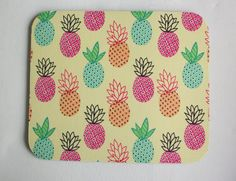 Pineapples Mouse Pad mousepad / Mat  Rectangle  yellow by Laa766  chic / cute / preppy / computer, desk accessories / cubical, office, home decor / co-worker, student gift / patterned design / match with coasters, wrist rests / computers and peripherals / feminine touches for the office / desk decor