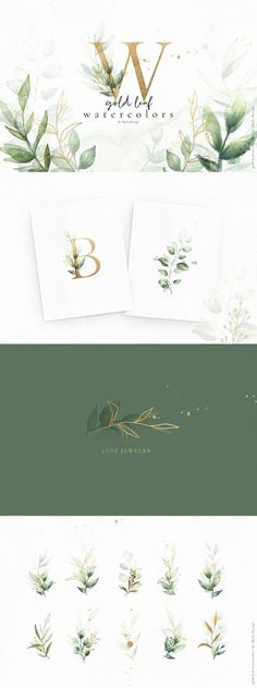 A stunning collection of gold elements and watercolor greenery. Combine gold and watercolors to create dreamy, delicate designs for weddings, mood boards, Instagram posts, magazines, & any other lovely projects. Watercolor Clipart, Gold Watercolor, Watercolor Logo, Watercolor Leaves, Watercolor Design, Art Clipart, Watercolor Ideas, Watercolor Wedding, Art And Illustration