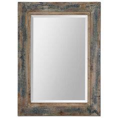 """Uttermost Bozeman 38"""" High Slate Blue Wall Mirror"""