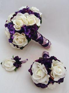 purple and white wedding bouquets | Purple White Real Touch Flowers Bridal Bouquet Bridesmaid Bouquet ..