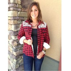 We LOVE plaid! Check out this fur lined plaid top at www.thespottedzebrastore.com #plaid #fur #boutique #onlineboutique #lace #outfit #fall