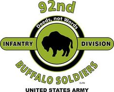 """92nd Infantry Division """"Buffalo Soldiers"""" United States Army Shirt.  WORLD WAR II  Mediterranean & European Campaigns: North Apennines* Po Valley.  (August 1945 Location: Torre Del Lago, Italy)  (Killed In Action; 548)  (Wounded In Action: 2,187)  (Died Of Wounds:68)"""