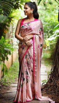 1 new message Floral Print Sarees, Saree Floral, Printed Sarees, Satin Saree, Cotton Saree, Silk Sarees, Indian Sarees, Rosa Sari, House Of Blouse
