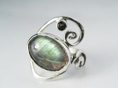 Labradorite Ring - Wave Ring - Silver Swirl Ring - Unique Labradorite Jewelry - Green Gold Brown Teal - Nature Inspired $145