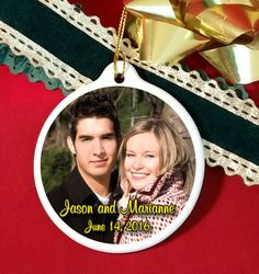 Elegant glossy ceramic ornament wedding favors with photo of the couple.