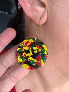 Excited to share this item from my shop: Wooden earrings African inspired hand-painted, round wooden earrings, Afrocentric colorful painted earrings, abstract designed jewelry. Wooden Earrings, Beaded Earrings, Earrings Handmade, Handmade Jewelry, Beaded Bracelets, African Earrings, African Jewelry, Diy Earrings Making, Bracelets For Men