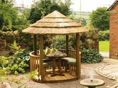 Our collection of luxury gazebo's and award-winning garden buildings are handcrafted by skilled craftsmen at our workshop in Leek, Staffordshire. Our collection features array of timber buildings with a choice of thatch or cedar roof. Small Gazebo, Hot Tub Gazebo, Gazebo Pergola, Pergola Kits, Gazebo Curtains, Garden Buildings, Garden Structures, Outdoor Structures, Garden Architecture