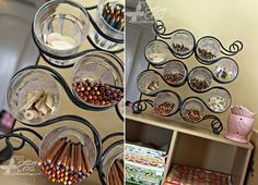 Clever Storage Uses for Repurposed Items :: a wine rack repurposed into office supply organizer