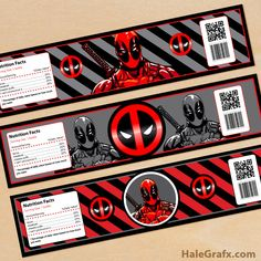 Click here to download FREE Printable Deadpool Water Bottle Labels!