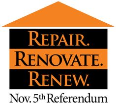"""Talk about the power of alliteration. The """"Repair. Renovate. Renew."""" tagline and logo mark stuck in voters'  minds as they voted YES at the polls to grant #PelicanRapidsSchools a $21.9 million bond referendum. Bond Issue, Campaign Posters, Alliteration, Home Repair, How To Memorize Things, Logo Design, Politics, Mindfulness, Proposal Ideas"""