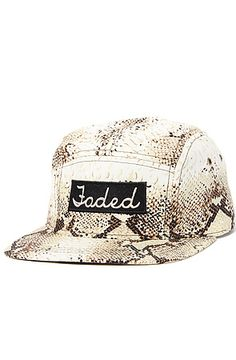 51e5fce9d6d Faded Royalty The Snakeskin 5 Panel Cap in Tan Beige Streetwear Fashion