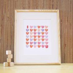 Kids Art Print, Kids Wall Art, Nursery Art Print for Baby Nursery Decor, Children Wall Art. 11x14 I Love You Print - Pink