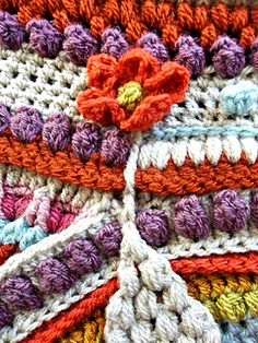Ravelry: The Amanzi Block/Throw pattern by Jen Tyler Crochet Hexagon Blanket, Crochet Mandala Pattern, Crochet Square Patterns, Crochet Quilt, Crochet Blocks, Freeform Crochet, Crochet Squares, Crochet Blanket Patterns, Knitting Patterns
