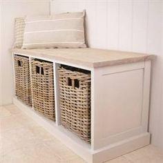 Three basket storage unit/bench/seat. For the foyer?