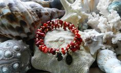 Red Bamboo Coral chips gemstone memory bracelet$17.5