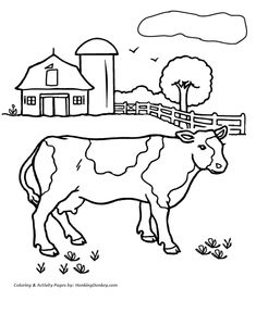 Cow Coloring Pages   Printable farm cow coloring page   HonkingDonkey