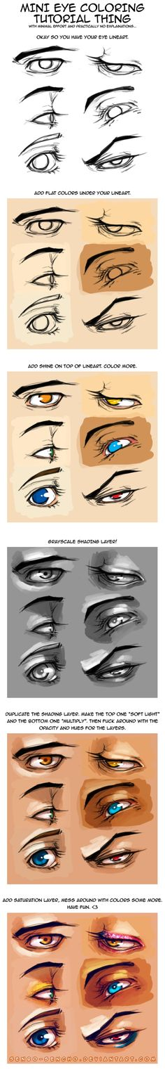 eye coloring tutorial - for manga eyes - drawing reference Drawing Skills, Drawing Techniques, Drawing Tutorials, Drawing Tips, Drawing Reference, Art Tutorials, Drawing Sketches, Sketching, Male Drawing