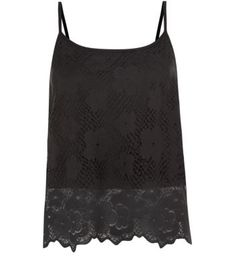 Black Daisy Lace Floral Border Cami