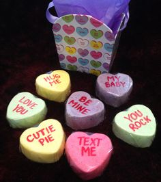 ADORABLE! Valentines Day Conversation Hearts Bath Bombs that won't rot your teeth or add calories!  Who wouldn't want to get a box like this for Valentine's Day?  Filled box with tissue paper only $10!!!