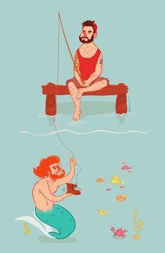 go fish. #merman #fisherman #illustratedgoodness