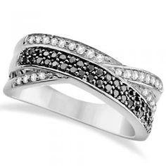 White and Black Diamond Ring Twist Design 14K White Gold 0.50tcw -allurez.com