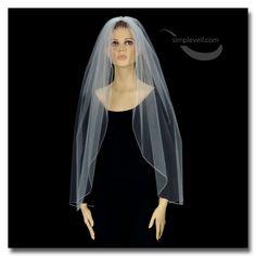 One Layer Pencil Edge Fingertip Length Bridal Veil