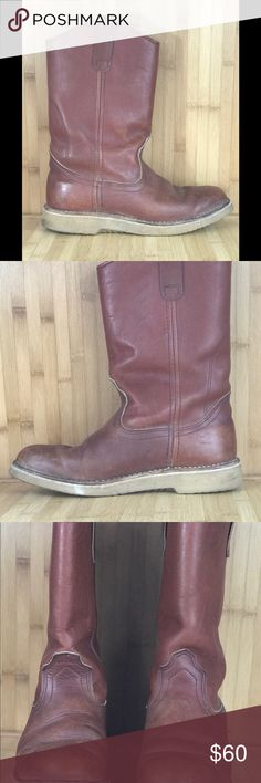 ♻️ red wing woman's work leather boots Red wing leather work boots   Size 9  Good condition  Minor scuffs on boots Red Wing Shoes Shoes Combat & Moto Boots