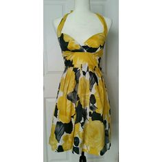 "Cute gray and yellow floral halter dress Ruby Rox brand (Dillard's and Macy's). Excellent condition. From Approx shoulder it's about 34"" to hem. NO TRADES Ruby Rox Dresses"