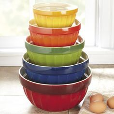 CHEFS Stoneware Mixing Bowls | CHEFScatalog.com  Love colorful glass mixing bowls.....classic !