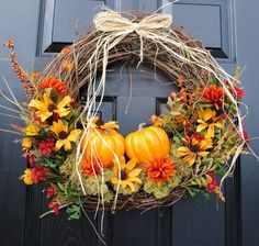 Fall Wreath for Front Door-Pumpkin Patch by ThePinkFrontDoor Thanksgiving Wreaths, Autumn Wreaths, Holiday Wreaths, Holiday Decor, Wreaths For Front Door, Door Wreaths, Wreath Crafts, Wreath Ideas, Fall Harvest