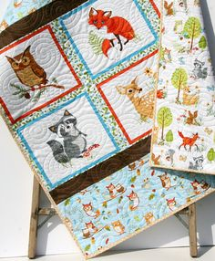 Woodland Quilt Kit, DIY Project, Forest Fellows Striped Panel Pattern, Modern Quilt Kit Boy or Girl Fox Squirrel Deer Owl Animals Brown Blue by Sunnyside Designs Woodland Baby, Woodland Animals, Woodland Nursery, Woodland Theme, Forest Animals, Quilting Projects, Diy Projects, Quilting Ideas, Quilt Patterns