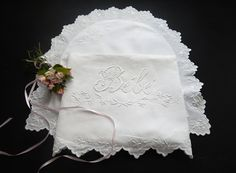 Vintage French Baby Sheet and Pillow Cover with Hand Embroidered 'Bebe' for Nursery