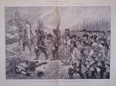1893 PRINT 2nd NORTH BRITISH DRAGOONS (SCOT'S GREYS) IN BATTLE AT BLENHEIM