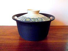 Vintage Figgjo Norway Covered Ceramic Casserole, Blue, White, Floral via Etsy