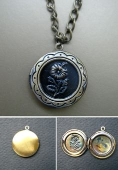 Dainty copper picture locket, filigree locket, flower pendant locket, DIY jewelry, craft supply, memory pendant locket, photo locket