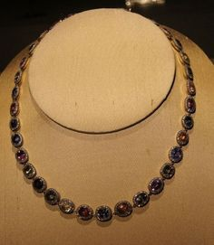 Faberge necklace of 35 multi-hued, cushion-cut sapphires surrounded by diamonds ca 1890 — at The Bowers Museum.