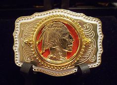 #74) INDIAN HEAD RODEO COWBOY WESTERN BELT BUCKLE MADE IN U.S.A