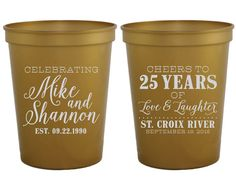 Anniversary Party Favors, Cheers to 25 Years, Custom Anniversary Party Cups…