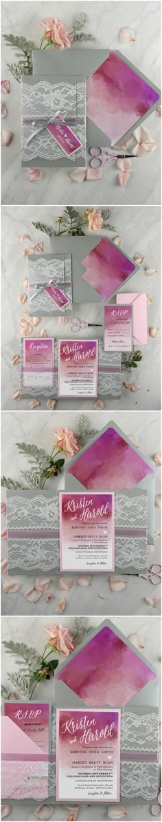 Ombre Watercolor Lace Wedding Invitations #romantic #ombre #elegant #colorful #weddinginvitations #wedding #pink