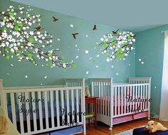 cherry blossom Floral with Flying Birds -cherry blossom decal,bedroom wall decal tree children baby girl boy nursery room wall decal flower