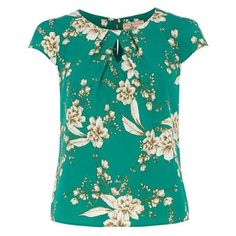 **Billie Blossom Petite Green Floral Shell Top (2125 DZD) ❤ liked on Polyvore featuring tops, blouses, dorothy perkins, blue top, floral tops, shell tops and green floral top