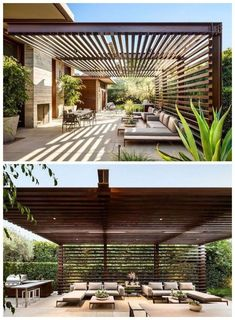 Thayer Residence By NMA Architects Greets Visitors With A Contemporary Courtyard This modern house has an outdoor entertaining area with a wood and steel pergola, a fireplace and lounge area, as well as an outdoor kitchen with a bbq and dining table. Outdoor Pergola, Backyard Pergola, Pergola Plans, Outdoor Rooms, Pergola Lighting, Outdoor Areas, Cheap Pergola, Outdoor Lounge, Outdoor Living